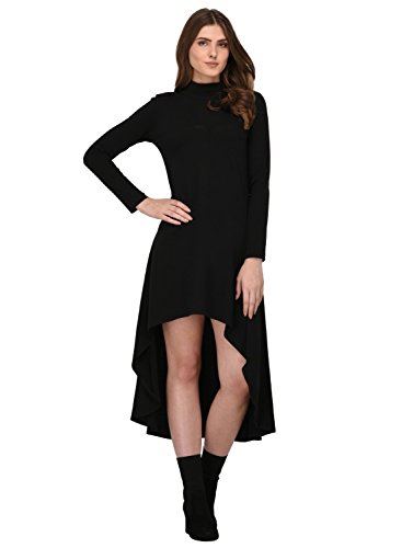 Rigo Women's A-line Knee-Long Dress(WDRS145-1055-L_Black_12)