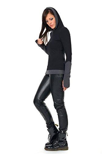 Winterpulli Hoodie Damen Pullover Herbst Winter Kleidung Daumenloch Mode 3Elfen, Kapuzenpulli Frauen schwarz grau S - 2