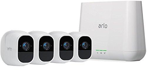 Arlo Pro2 VMS4430P Sistema di Videosorveglianza Wi-Fi con Quattro Telecamere di Sicurezza, Audio 2 Vie, Batteria, Full Hd, Visione Notturna, Interno/Esterno, Vcr Opz, Funziona con Alexa e Google Wi-Fi