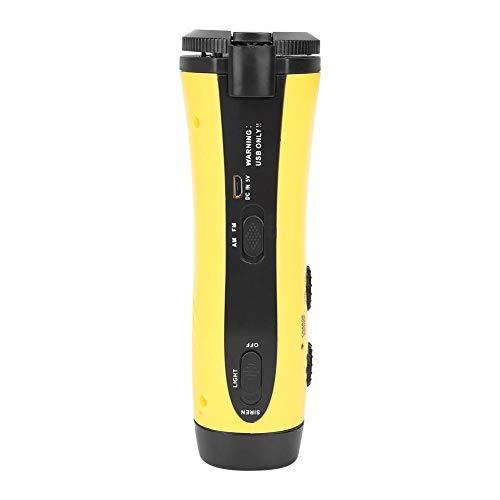 Hand Crank Radio Flashlight, Outdoor Multi-function Portable Hand Crank Flashlight Outdoor Emergency Phone Charging Radio Torch Yellow(Yellow)