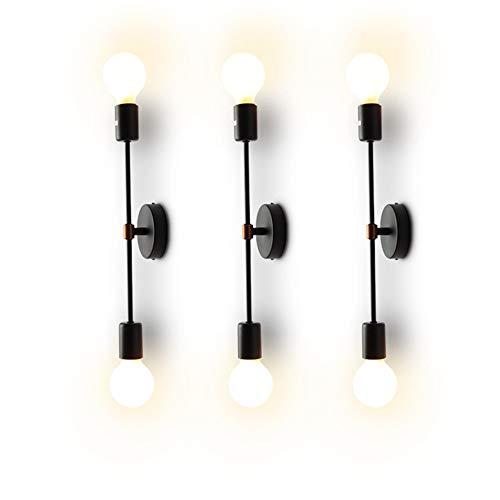 XIHOME Minimalista Nero 2 Luci LED Lampada da parete su/giù per interni,180 ° regolabile, Rustico...