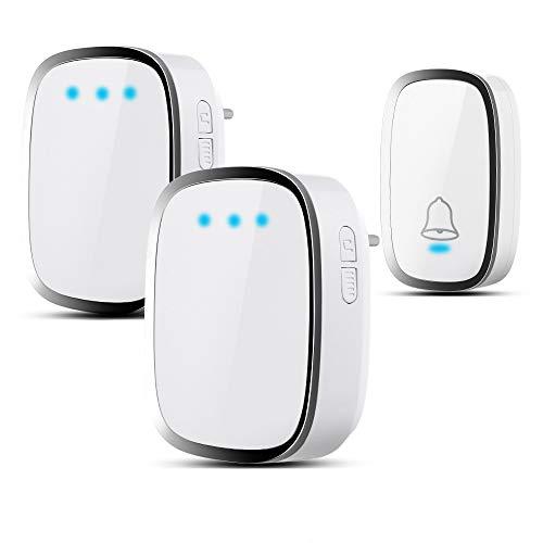 Campanello Senza Fili Impermeabile, Wireless Doorbell Con Raggio d'Azione 300m, Indicatore LED, 1...