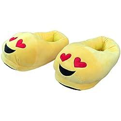 Desire Deluxe Zapatillas Casa Invierno con Figura de Emoji en Forma de Corazón ojo Sonriente - Pantunflas Invierno de Talla Universal para Hombre, Mujer, Niño y Niña