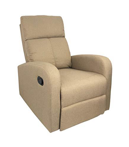 Totò Piccinni Poltrona Relax Reclinabile Manuale con Poggiapiedi Imbottita Confortevole (Beige Tessuto)