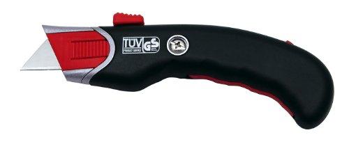 Wedo 78815 Safety Cutter Premium, TÜV/GS-geprüft, autom. Klingenrückzug, ergonomisch, auch für Linkshänder, inkl. 5 Ersatzklingen, schwarz / rot