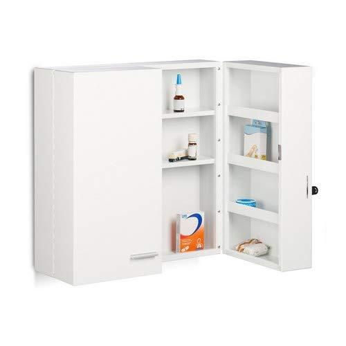 Relaxdays XXL Medicine Cabinet, Premium bloccaggio W/2Porte, 11Scomparti, AxLxP: 53x 53x...