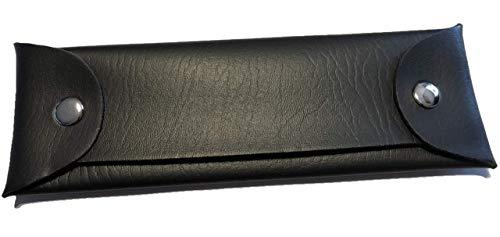 Astuccio in similpelle (nero), portapenne per la scuola, penne stilografiche, portaoggetti, occhiali...