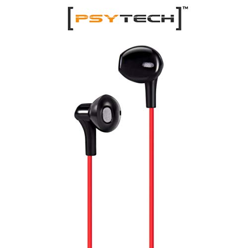 PSYTECH 4D Bass+SUBWOOFER HEADSETS with MIC and in-LINE Music Controller. (red)