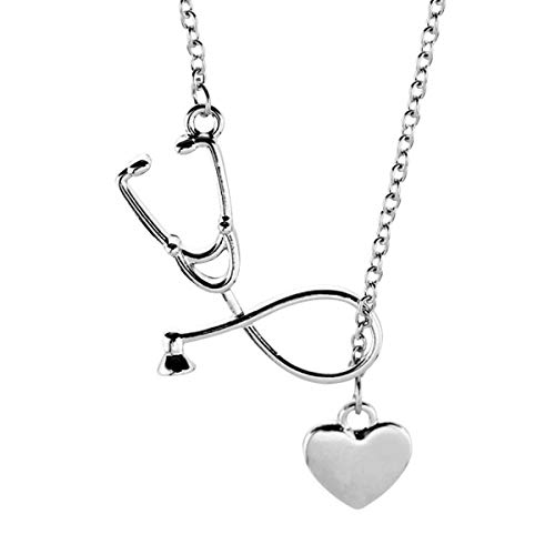 TENDYCOCO Silver Alloy Doctor Nurse Stethoscope Couple Charm Heart Necklace for Women