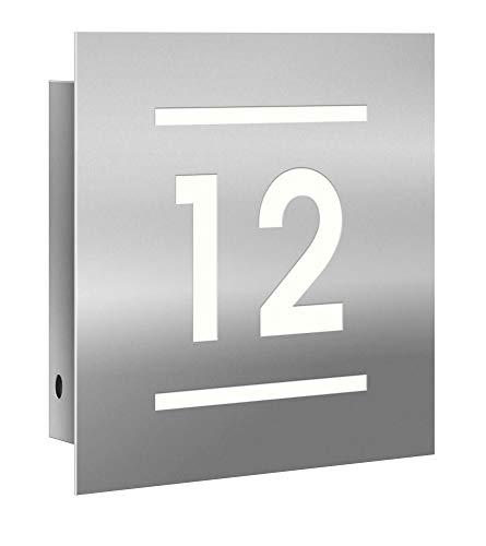 Frabox® LED-Edelstahl Hausnummer - Hausnummernleuchte NAMUR mit Dämmerungssensor