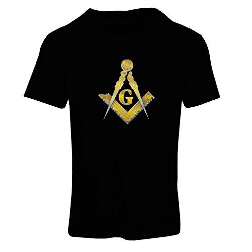 lepni.me Camiseta Mujer Francmasonería - Masón - masónico - símbolo Cuadrado y el compás con G (X-Large Negro