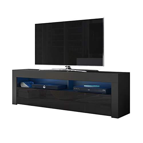 Alan - Mobile porta TV/Supporto TV/Mobile TV audio e video (160 cm, nero opaco/pannelli frontali...