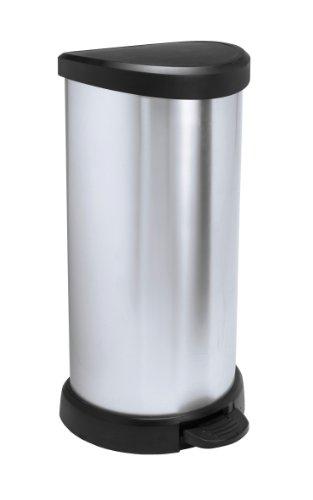 Curver 02150 Metallic's - Cubo de la basura con pedal (40 litros), color plateado metálico