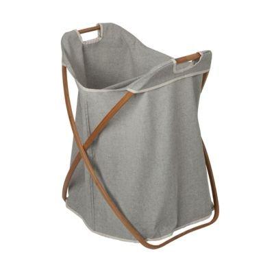 Bamboo Wäschekorb doppelt mit 2 Fächern grau