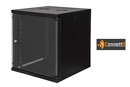 Connetto Armadio Rack 19' 12 Unita' da Muro (A) 620X (L) 540 X PROFONDITA' 600 MM. Colore Nero Porta...