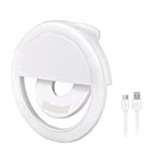 Olliwon Selfie Light, 36 LED Aro de Luz para Móvil Flash Anillo Selfie Clip de Ring Fill Luz Portátil por Todos Modelos de Móvil Universal para Teléfono Samsung iPhone etc - Blanco