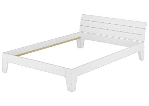 Solido telaio letto bianco 120x200 in Pino Eco senza doghe e materasso 60.54-12 W oR