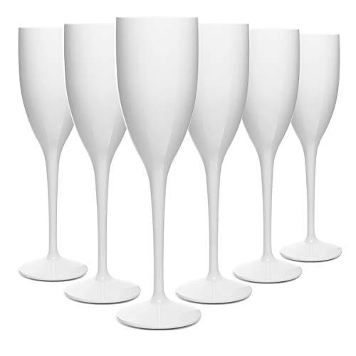 RB Infrangibile Flute Da Champagne Bianca Policarbonato Plastica 15cl, Set di 6