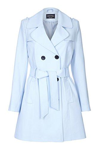 De La Creme - Trench coat da donna con cinturino in lana Azzurro taglia 52
