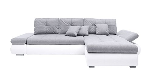 AVANTI TRENDSTORE - Divano ad angolo in pelle sintetica bianca, ca. 303x88x175 cm