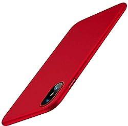 Kaufen TORRAS Ultra Dünne iPhone XS Hülle / iPhone X Hülle , mit [Gehärtetem Glas Schutzfolie] Slim Schutz iPhone XS / iPhone X Hart PC Hardcase Schutzhülle Matt Anti-Scratch Handyhülle Cover Case für iPhone XS / iPhone X - Rot