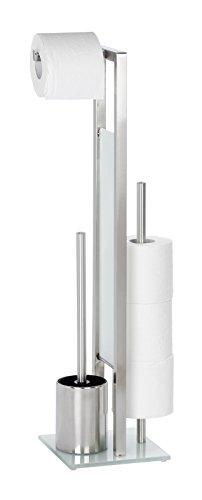 WENKO 21564100 Stand WC-Garnitur Rivalta Matt /Bürstenhalter, Edelstahl rostfrei/Glas, 18 x 70 x 20 cm, Matt