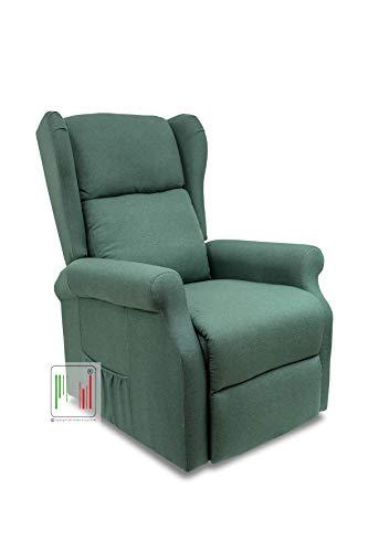 Stil Sedie - Poltrona Relax reclinabile elettrica alzapersona Bergere in Tessuto MOD Giada (Verde)
