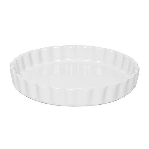 Excelsa Grande Forno Stampo Crostata Ceramica, Bianco, 27.0 cm
