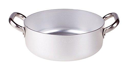 Pentole Agnelli ALMA10624 Alluminio Professionale 3 mm, Casseruola Bassa con Due Maniglie, 4,1 L