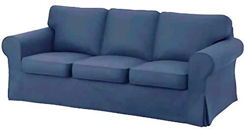 Custom Slipcover Replacement Copridivano sostitutivo, in pelle ecologica in poliuretano, per divano a 3 posti, realizzato su misura per il divano Ikea Ektorp Deep Blue
