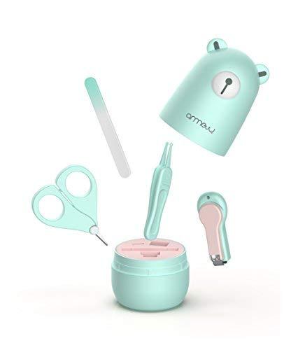 Baby 4in1 Pflege-Set für Fingernägel und Fußnägel mit Nagelknipser, Nagelschere, Nagelfeile und Pinzette für Kinder und Neugeborene in süßer Bären Geschenk-Verpackung