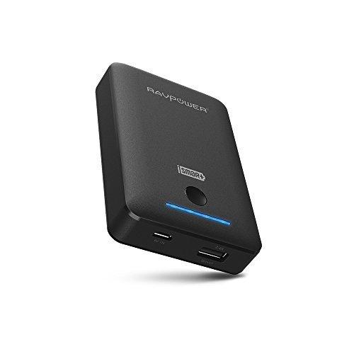 RAVPower Batteria Esterna da 10050mAh con porte di ricarica iSmart USB (Ingresso2A, Uscita2.4A) Protezioni di sicurezza multiple, 4 indicatori LED per iPhone, iPad, iPod, smartphone Samsung, dispositivi cellulari (Nero)