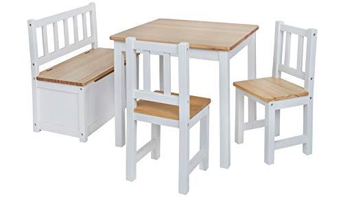 Original IMPAG® Kinder-Sitzgruppe | Großes Kinderzimmer Set 1 Tisch, 2 Stühle, 1 Truhenbank mit Qualitäts-Beschlag | Nordische Fichte | Ergonomisch | Top Möbel-Qualität | Sicherheitsgeprüft