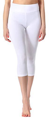 Merry Style Leggings 3/4 Pantaloni Capri Donna MS10-220 (Bianco, S)