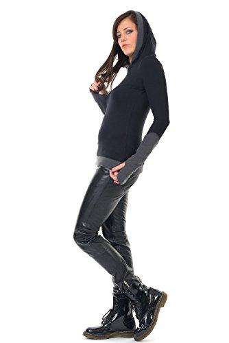 Winterpulli Hoodie Damen Pullover Herbst Winter Kleidung Daumenloch Mode 3Elfen, Kapuzenpulli Frauen schwarz grau S - 3