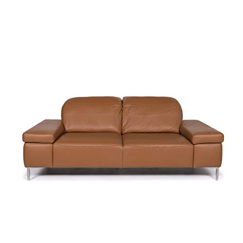 Willi Schillig leather sofa cognac brown two-seater function couch