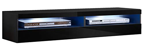muebles bonitos Mobile TV sospeso Design Tobic Nero con luci LED - Larghezza: 160cm x Altezza: 30cm...