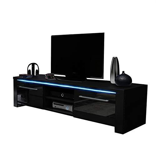 Messa - Mobile TV con 2 armadietti e 2 vani aperti (140 cm, con illuminazione a LED), colore: Nero