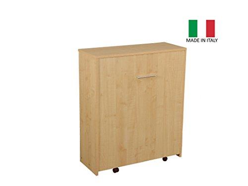 Mobile letto estraibile a scomparsa con rete e materasso - struttura colore Acero - MADE IN ITALY