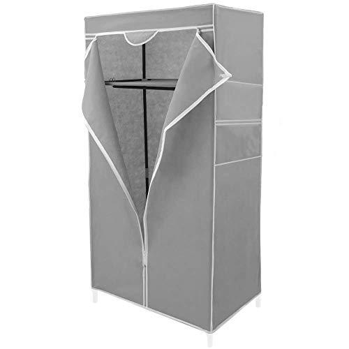 PrimeMatik - Armadio Guardaroba in Acciaio Tessuto 70 x 45 x 155 cm Grigio