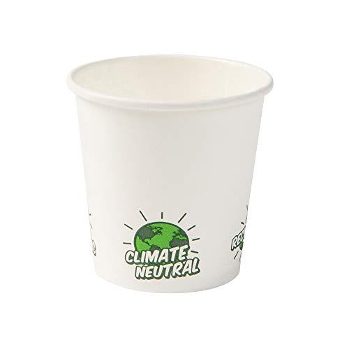 BIOZOYG Bio Bicchieri Monouso Compostabili I Bicchiere di Carta Bicchiere Degustazione Tazza Espresso di Carta Bianca con Icona EcoUp e Rivestimento PLA I 1000 Bicchieri da Bibita 100ml 4oz