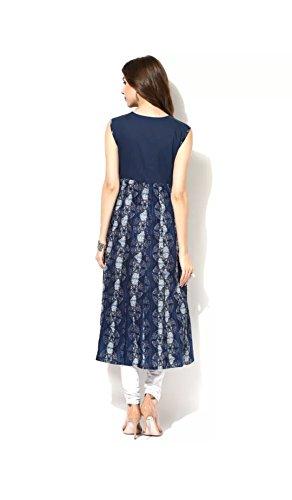 AnjuShree Choice Women's Blue Indigo Cotton Anarkali Kurti