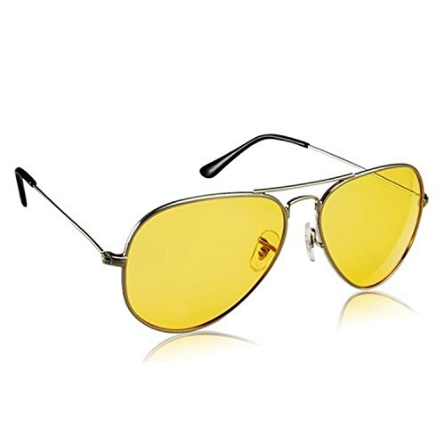 Dervin Night Vision Silver Frame Men Women Aviator Sunglasses for Driving/Shooting (Yellow Lens) - Perfect for Any Weather