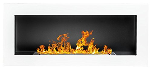 Bio Ethanol Fire Fireplace - 900 x 400 White