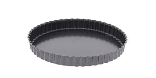 De Buyer 4705.24 - Tortiera per crostata, bordo ondulato, base fissa, 24cm
