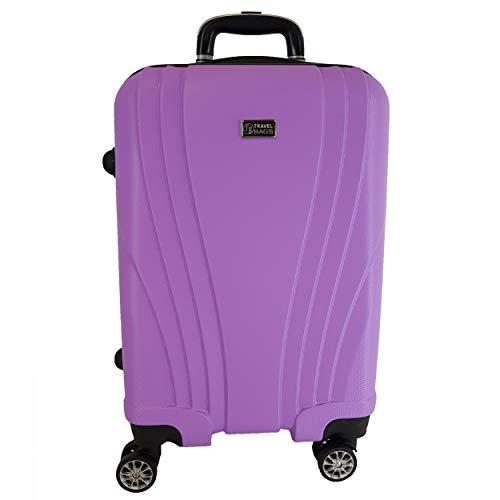 Trolley Bagaglio a mano ABS rigido 8 ruote FG Travel viola *IDONEO RYANAIR Cm.55x37x23 ABS RIGIDO 4...