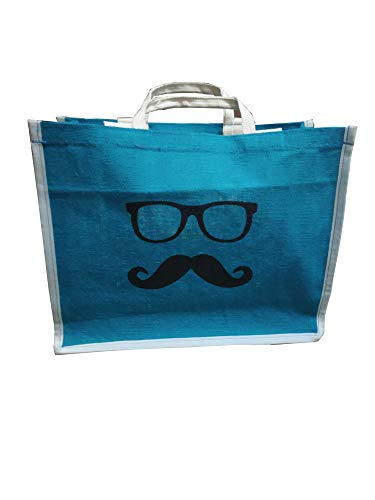 DOUBLE R BAGS Men's and Women's Jute Shopping/Grocery/Lunch Bag with Zip Closer (Multicolour)