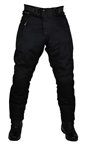 Schwarze Motorradhose in Kurzgröße XXXL mit herausnehmbarem Thermofutter, Protektoren und Weitenverstellung, für Sommer und Winter