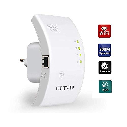 NETVIP Repetidor de red Wifi 300Mbps/ 2.4GHz Amplificador Señal Wifi de Cobertura Repetidor Wifi Inalámbrico Repetidor Wifi Extensor de Rango Wifi Punto Acceso Compatible con Enrutador Inalámbrico