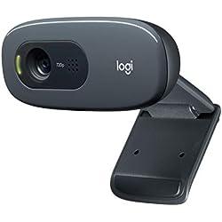 Logitech C270 HD - Webcam para videoconferencias con Pantalla panorámica, con micrófono Reductor de Ruido y corrección de iluminación automática, Negro
